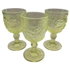 Madonna Inn Yellow Glass Fenton/ LG Wright Goblets