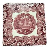 """Rare Four Toed Mason's Pink Vista Patterned Trivet Tea Tile 6"""""""