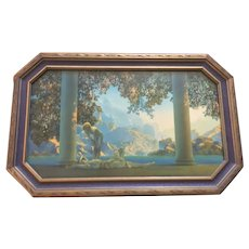 Maxfield Parrish Print of Daybreak in Original Art Deco Octagonal Frame