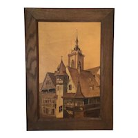 Spindler Marquetry Picture intricate French Scene of the Historic City of Colmar France