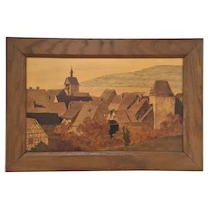 Marquetry Picture by Paul Spindler of the Medieval town of Riquewihr