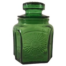 Green Wheaton Glass Canister with Sunflower