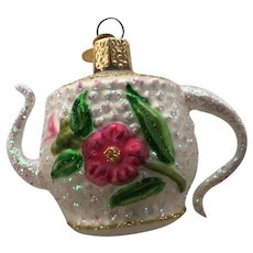 Old World Christmas Teapot with Rose Ornament