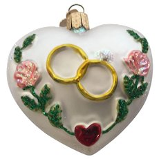 Old World Christmas NOS Vintage First Christmas Together Heart with Wedding Rings Christmas Ornament