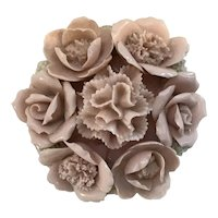 Lovely Pink Japanese Trinket Box with 3 Dimensional Flowers and Spaghetti Trim