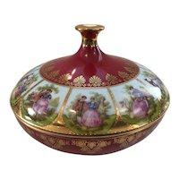 STW Bavaria Germany Candy Dish / Trinket Box with Fragonard Courting Scenes