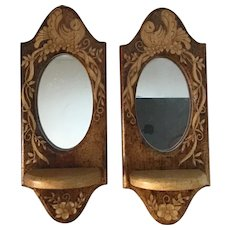 Pair of Art Nouveau Pyrography Mirrors