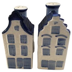 DAIC Holland Blue Delft Salt and Pepper Shakers Canal Houses