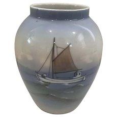 Royal Copenhagen Vase with Boat on Ocean