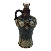 Doulton Lambeth Flagon with Sterling Silver Stopper with Hallmarks