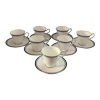 Set of 7 Royal Doulton Sarabande pattern Cups and Saucers Sarabande Pattern Cups