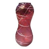 Large Bohemian Art Nouveau Iridescent Glass Vase