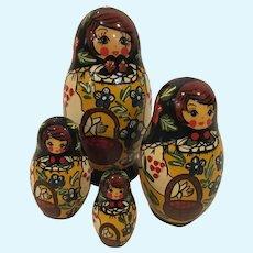 Russian Matryoshka Set of 4 Nesting Dolls