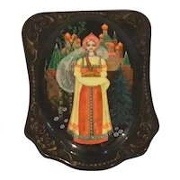 Russian Lacquer Hinged Box with Beautiful Girl Holding Bread and Salt