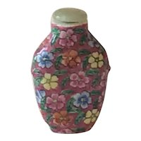 Rose Canton Snuff Bottle with Jade Top