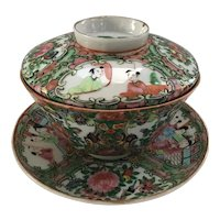 Beautiful Rose Medallion Handleless Cup with Cup and Saucer
