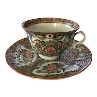 Rose Canton Cup and Saucer marked China