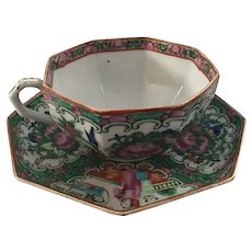 Octagonal Rose Medallion Cup and Saucer