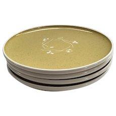 """Set of 4 Russel Wright Harkerware 10"""" Dinner White Clover Plates in Golden Spice"""