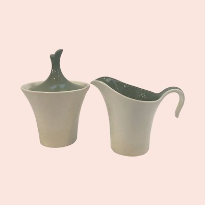 Set of Cream and Green Harkerware Pottery Sugar and Creamer