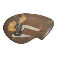 Marc Bellaire Mid Century Kidney Shaped Covered Box in the Jamaica pattern circa 1950