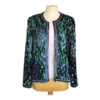 Laurence Kazar Peacock Beaded Jacket