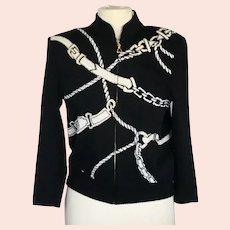 St. John Collection Black Jacket with White  Belt Design with Gold Embellishments , Front and Back