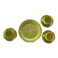 Secla Majolica Yellow Dinner Plates and Cups and Saucers