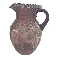 Victorian Handblown Amethyst Glass Pitcher with Hand Painting