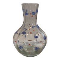 Hand Blown Water Pitcher with Hand-painted  Enamel Flowers