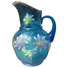 Victorian Turquoise Pitcher with Hand Painted Enamel Flowers