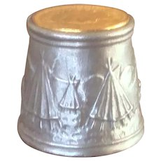 Native American Themed Pewter Thimble with 22k Gold Plated Indian Head Penny