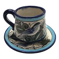 Beautifully Hand Painted Tonala Cup and Saucer signed Reyna