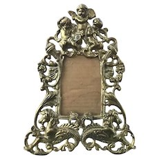 Brass Picture Frame Musical Cherubs Angels and Seahorses