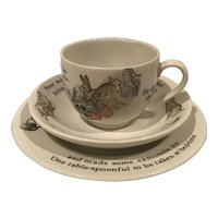 Vintage Wedgwood Beatrix Potter Children's Cup and Saucer and Plate Made in England