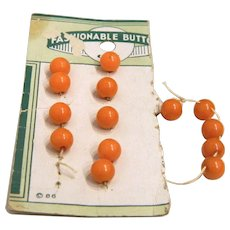 Vintage Card of 14 Tiny Butterscotch Bakelite Ball Buttons