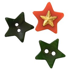 Set of Three Realistic Vintage Bakelite Star Buttons