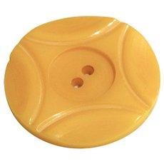 Large Vintage Carved Butterscotch Bakelite  Button