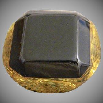 Large Vintage Modified Square Back Carved Laminate Bakelite Button