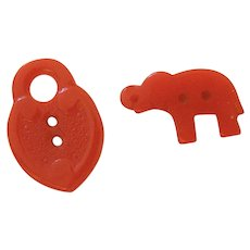 Pair of Realistic Vintage Cherry Red Bakelite Buttons-Elephant and Lock