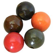 Five Vintage Bakelite Ball Buttons