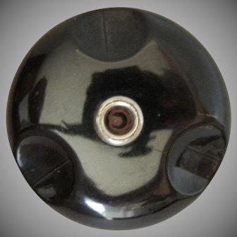 Large Vintage Black Bakelite Button with Applejuice Center
