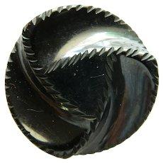 Large Black Chunky Bakelite Button - Triad Design