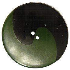 Large Vintage Dark Green and Black Ying Yang Bakelite Button