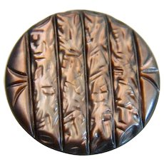 Vintage Iridescent Carved Pearl Shell Button
