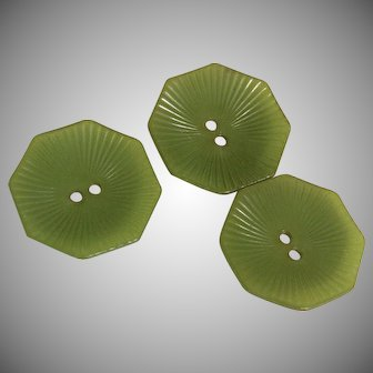 Vintage Green Octagon Bakelite Button Set