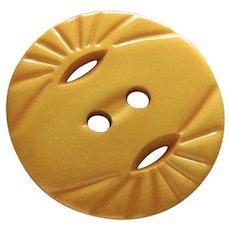 """Large Vintage Creamed Corn Pierced Carved Bakelite Button-1 & 3/8"""""""