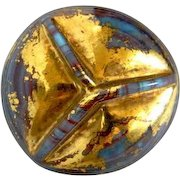 Vintage Bimini Style Turquoise Swirled Glass Button Medium
