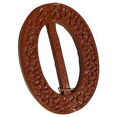 Vintage 1930's Brick Red Glass Buckle/Slide