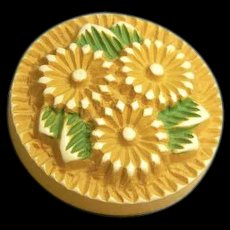Vintage Buffed Celluloid Button with Flowers